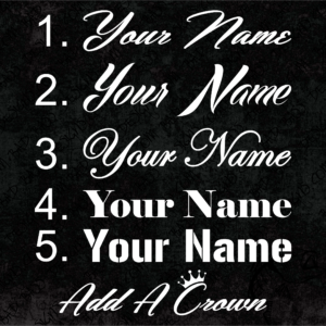 Names and Username Decals and Plate